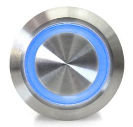 Drukknop   Moment   5V LED Blauw   RVS   12mm