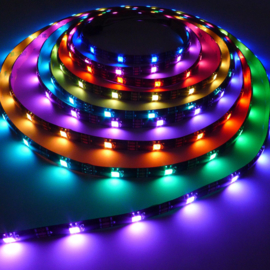 RGB LED Strip WS2812B | 5m | 5V | 150 LEDS | IP65 | Zwart met controller