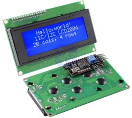 2004 LCD  blauw backlight 20x4 met  I2C voorgesoldeerd