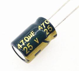 Condensator 470uF 25v Elektrolytisch (ELCO) groen