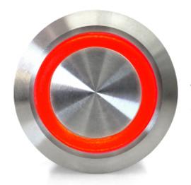 Drukknop | Moment | 5V LED Rood | RVS | 12mm