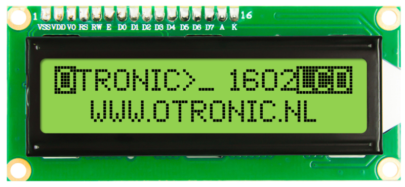 1602 LCD  groen/geel backlight met  I2C voorgesoldeerd