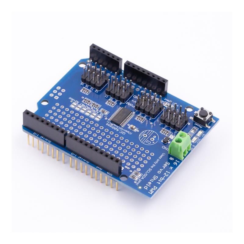 16-kanaals 12-bit PWM en Servo shield met I2C interface voor Arduino UNO R3