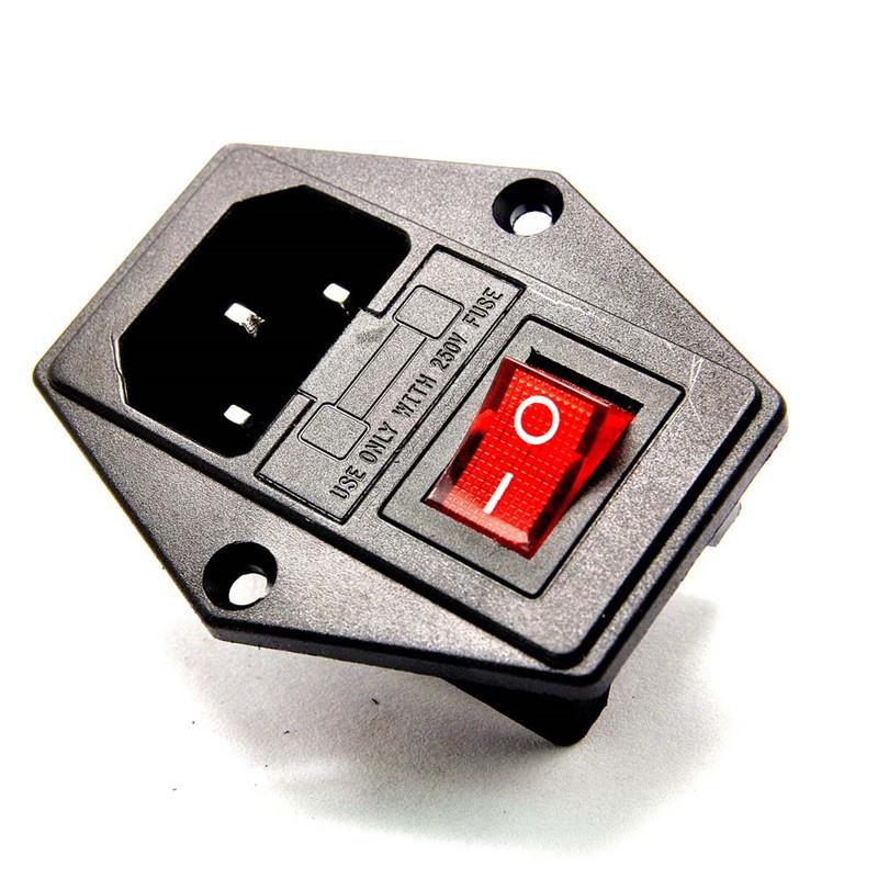 AC C13 Power socket met zekeringhouder en schakelaar