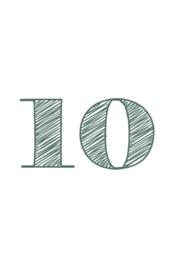 mini kaart sage green, cijfer 10 - 10 stuks