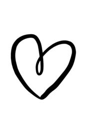 mini kaart, getekend hart zwart 10 stuks