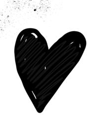 mini kaart, hart zwart 10 stuks