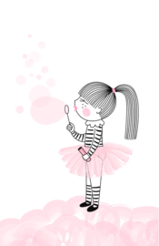 mini kaart, pink bubbles 10 stuks