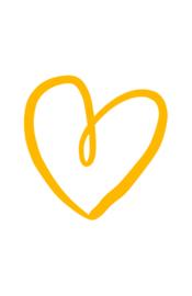 mini kaart, getekend hart geel 10 stuks