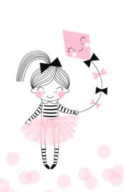 mini kaart, pink kite 10 stuks