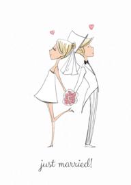 kaart, just married! 10 stuks