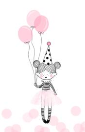 mini kaart, birthday girl 10 stuks