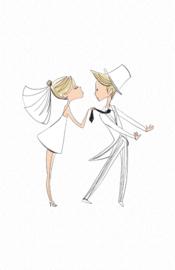 mini kaart huwelijk, kiss the bride 10 stuks