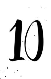 mini kaart black ink, cijfer 10 - 10 stuks