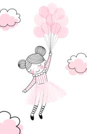 mini kaart, pink balloons 10 stuks