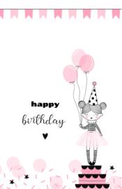 mini kaart, happy birthday 10 stuks