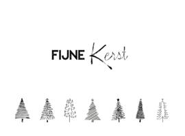 kerstkaart, fijne kerst met zwart/witte kerstbomen 10 stuks
