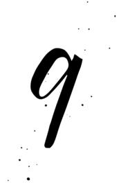 mini kaart black ink, cijfer 9 - 10 stuks