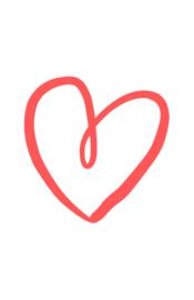 mini kaart, getekend hart koraal 10 stuks