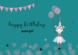 kaart, happy birthday sweet girl 10 stuks