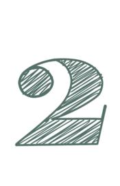 mini kaart sage green, cijfer 2 - 10 stuks