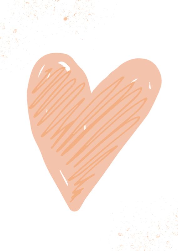 mini kaart, hart perzik 10 stuks