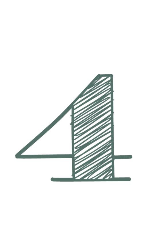 mini kaart sage green, cijfer 4 - 10 stuks