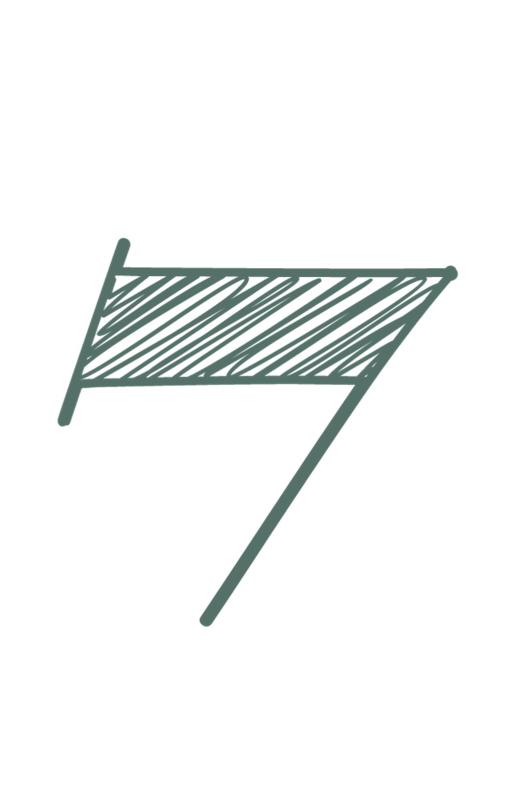 mini kaart sage green, cijfer 7 - 10 stuks