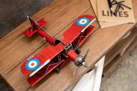 Plane Biplane Deco Metal Red