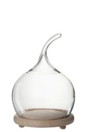 Stolp Bol Handvat Hout/Glas Naturel/Transparant Small