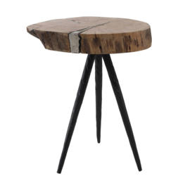 rough natural side table wooden top Iron legs s