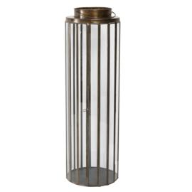 Jive Iron brass round lantern with Glass L