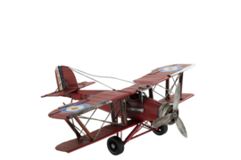 Plane Biplane Deco Metal Red