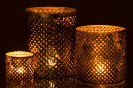 Windlicht Ruit Glas Goud/Bruin