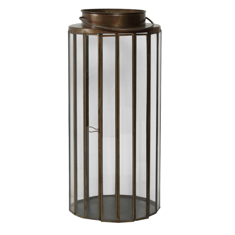 Jive Iron brass round lantern with Glass s