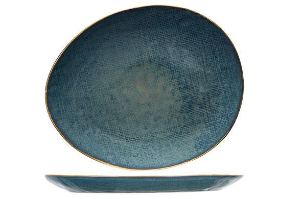 AICHA BLUE PLAT BORD 27X23CM OVAAL