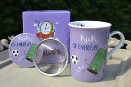 Theetas met filter voor verse thee / voetbal