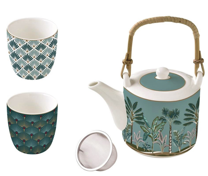 Thee set  jungle / thee pot + 2 kopjes in giftbox