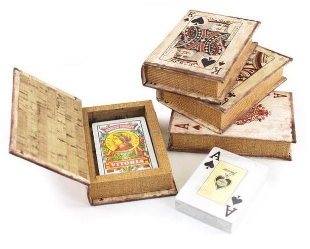 Speelkaarten doosje landelijk / opbergdoos voor kaartspel