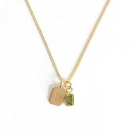 Gold Birth Stone Initial Pendant Peridot - Birth months: May, August, September