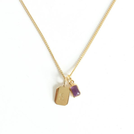 Gold Birth Stone Initial Pendant - Amethyst - Birth months: February