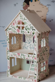 Wooden Dollhouse - Roses