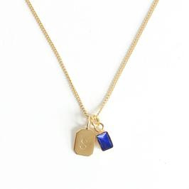 Gold Birth Stone Initial Pendant - Lapis Lazuli - Birth months: September, December