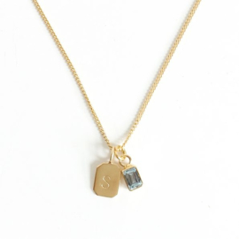 Gold Birth Stone Initial Pendant Aquamarine - Birth months: March, October
