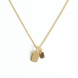 Gold Birth Stone Initial Pendant - Smoky Quartz Birth months: June, April