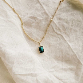 Gold Birthstone Initinal Pendant - Turqoise - Birth months: July, December