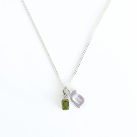 Birth Stone Initial Pendant Peridot - Birth months: May, August, September
