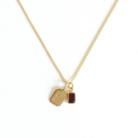 Gold Birth Stone  Initial Pendant - Garnet - Birth Months: January