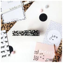 Washi tape panterprint zwart wit
