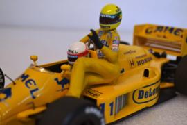 Satoru Nakajima & Ayrton Senna taxi Lotus Honda 99T race car Italian Grand Prix 1987 season